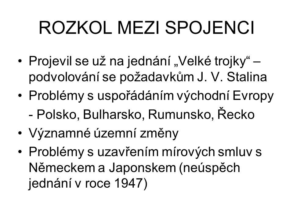 """ROZKOL MEZI SPOJENCI Projevil se už na jednání """"Velké trojky – podvolování se požadavkům J. V. Stalina."""