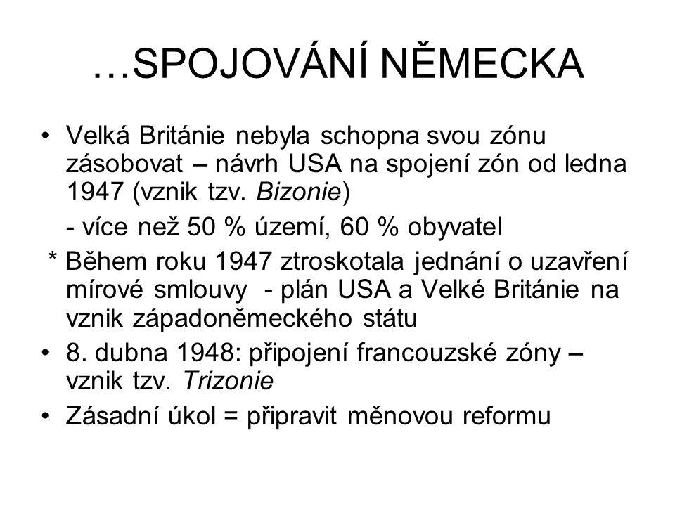 …SPOJOVÁNÍ NĚMECKA Velká Británie nebyla schopna svou zónu zásobovat – návrh USA na spojení zón od ledna 1947 (vznik tzv. Bizonie)