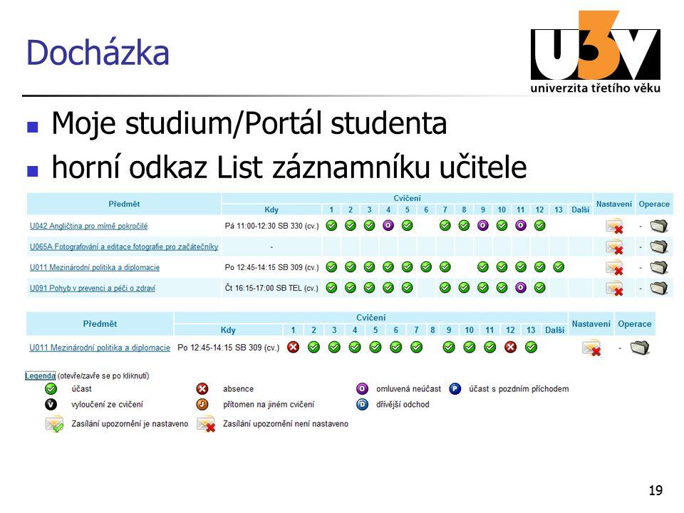 Docházka Moje studium/Portál studenta