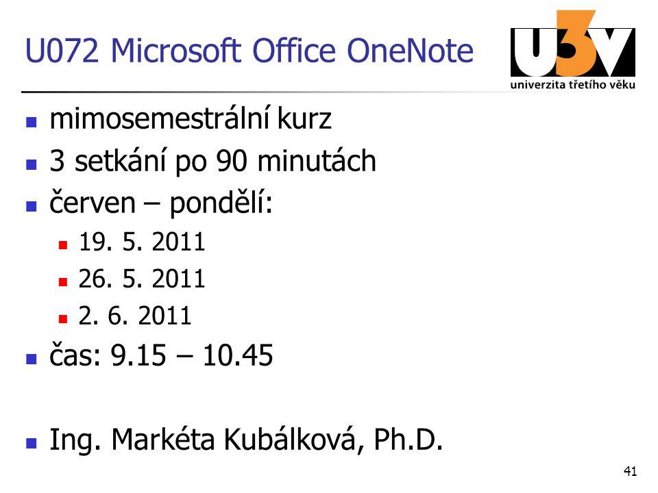 U072 Microsoft Office OneNote