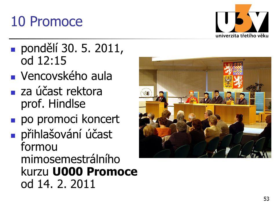 10 Promoce pondělí 30. 5. 2011, od 12:15 Vencovského aula