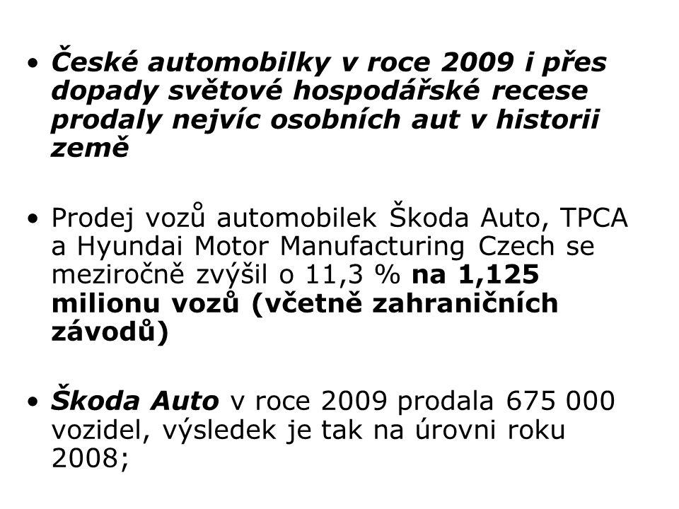 České automobilky v roce 2009 i přes dopady světové hospodářské recese prodaly nejvíc osobních aut v historii země