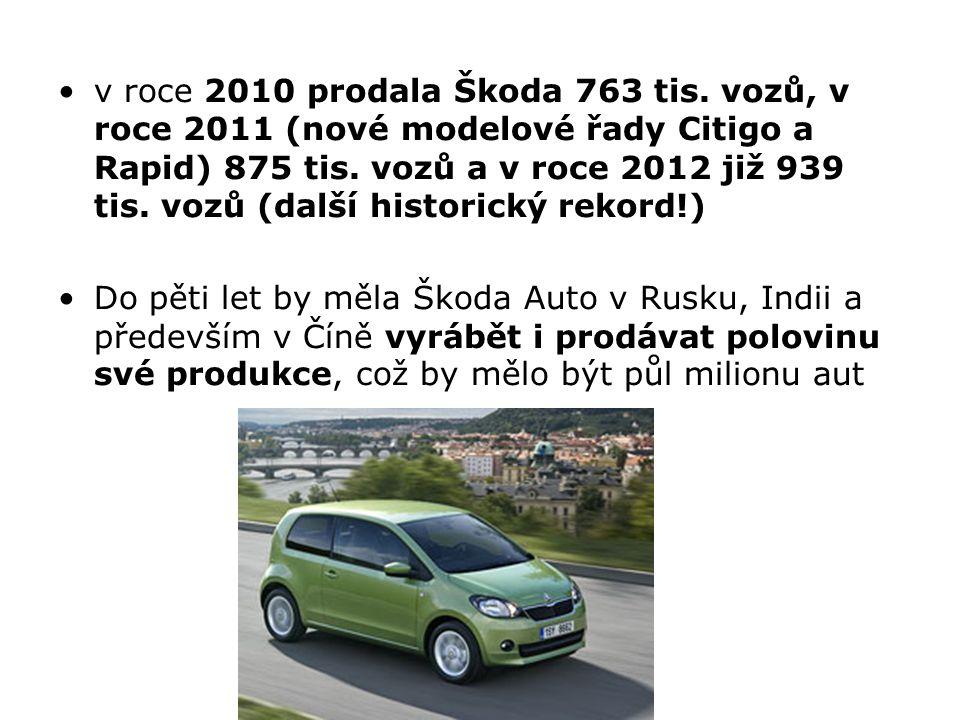 v roce 2010 prodala Škoda 763 tis