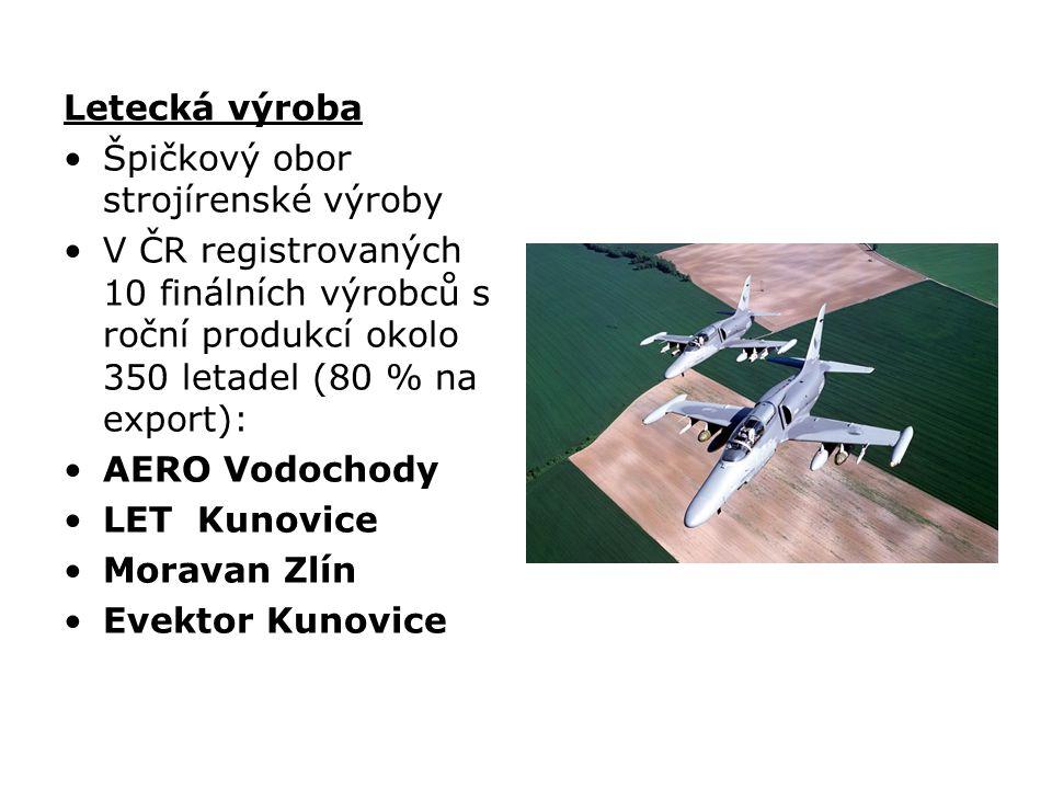 Letecká výroba Špičkový obor strojírenské výroby. V ČR registrovaných 10 finálních výrobců s roční produkcí okolo 350 letadel (80 % na export):