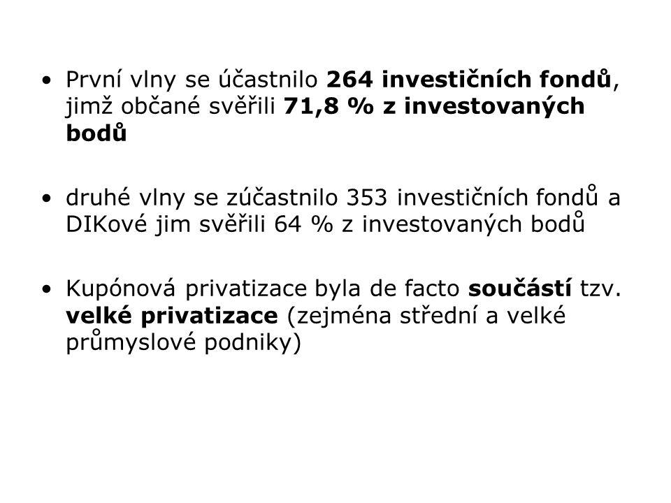 První vlny se účastnilo 264 investičních fondů, jimž občané svěřili 71,8 % z investovaných bodů