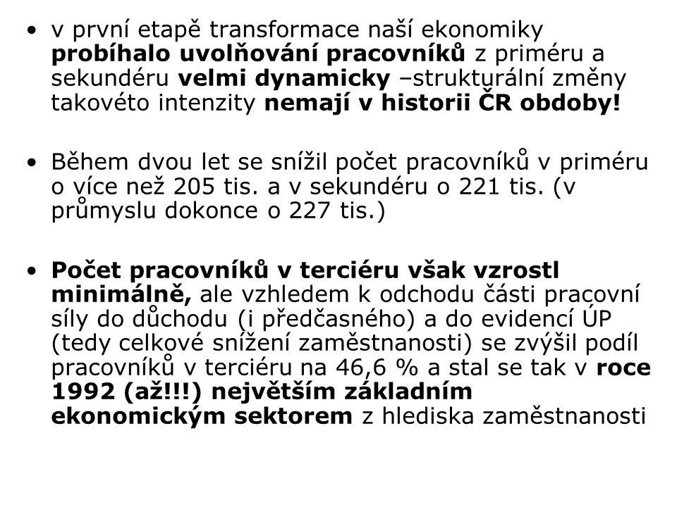 v první etapě transformace naší ekonomiky probíhalo uvolňování pracovníků z priméru a sekundéru velmi dynamicky –strukturální změny takovéto intenzity nemají v historii ČR obdoby!