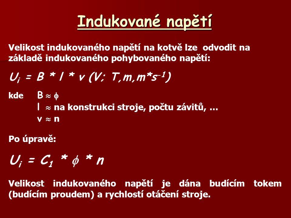 Indukované napětí Ui = C1 *  * n Ui = B * l * v (V; T,m,m*s-1)