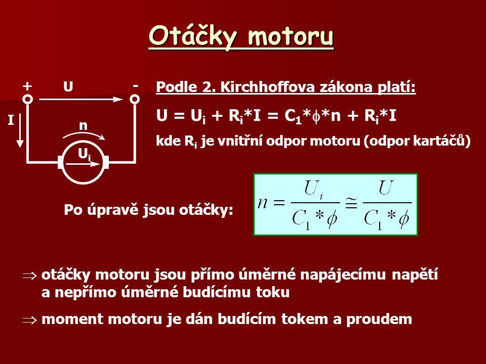 Otáčky motoru U = Ui + Ri*I = C1**n + Ri*I