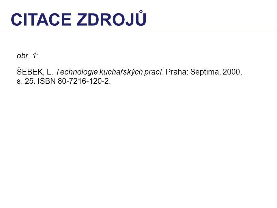 citace zdrojů obr. 1: ŠEBEK, L. Technologie kuchařských prací.