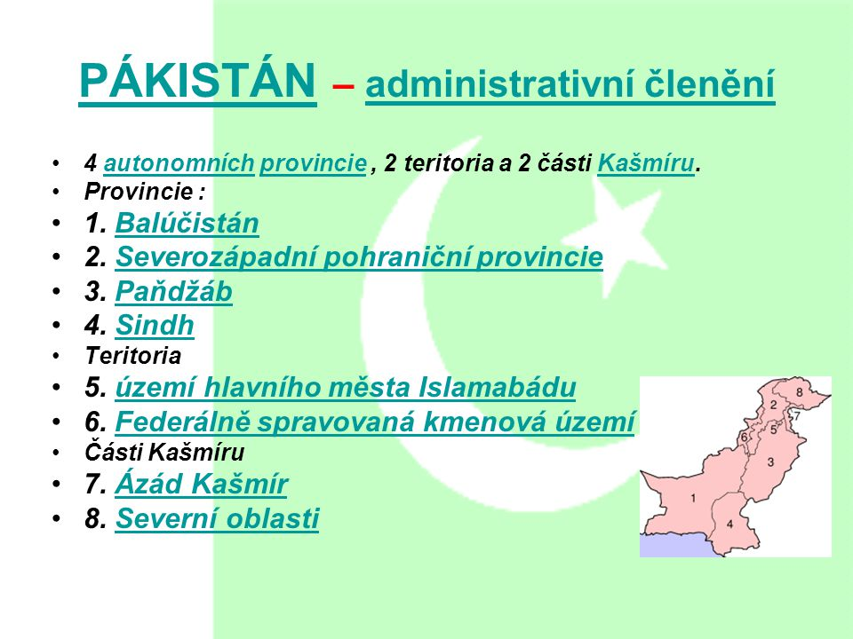 PÁKISTÁN – administrativní členění