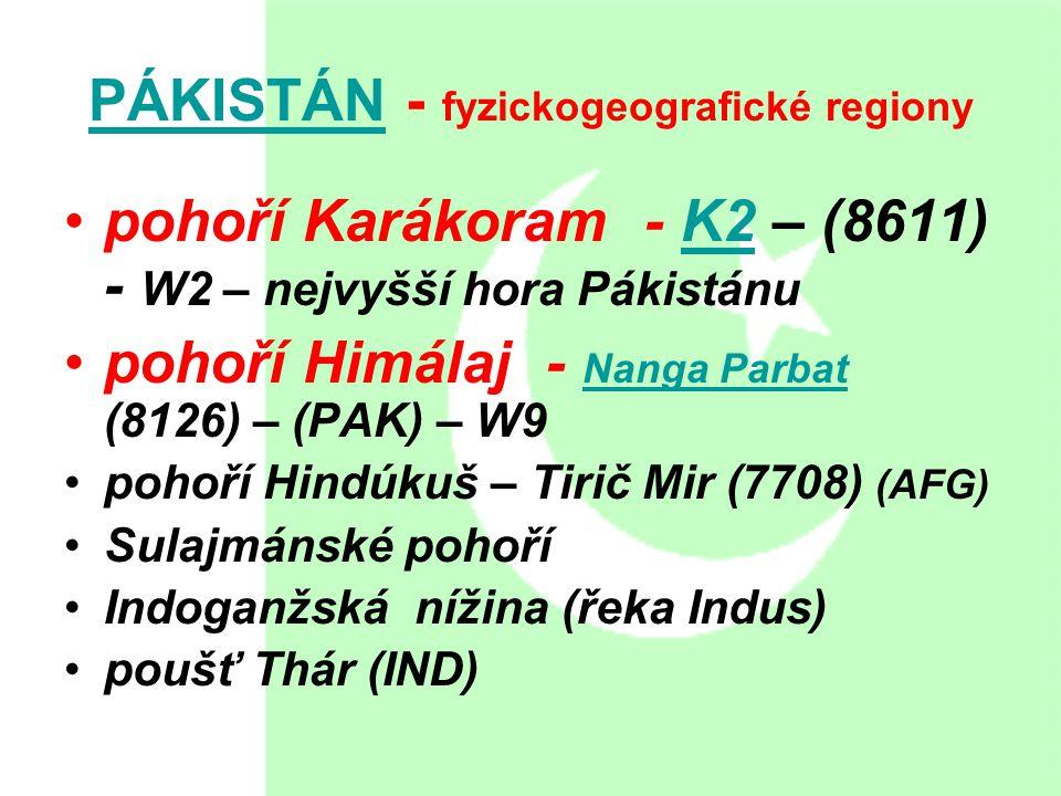PÁKISTÁN - fyzickogeografické regiony