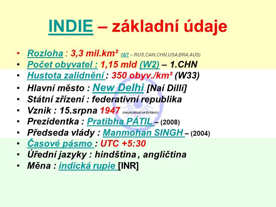 INDIE – základní údaje Rozloha : 3,3 mil.km² (W7 – RUS,CAN,CHN,USA,BRA,AUS) Počet obyvatel : 1,15 mld (W2) – 1.CHN.