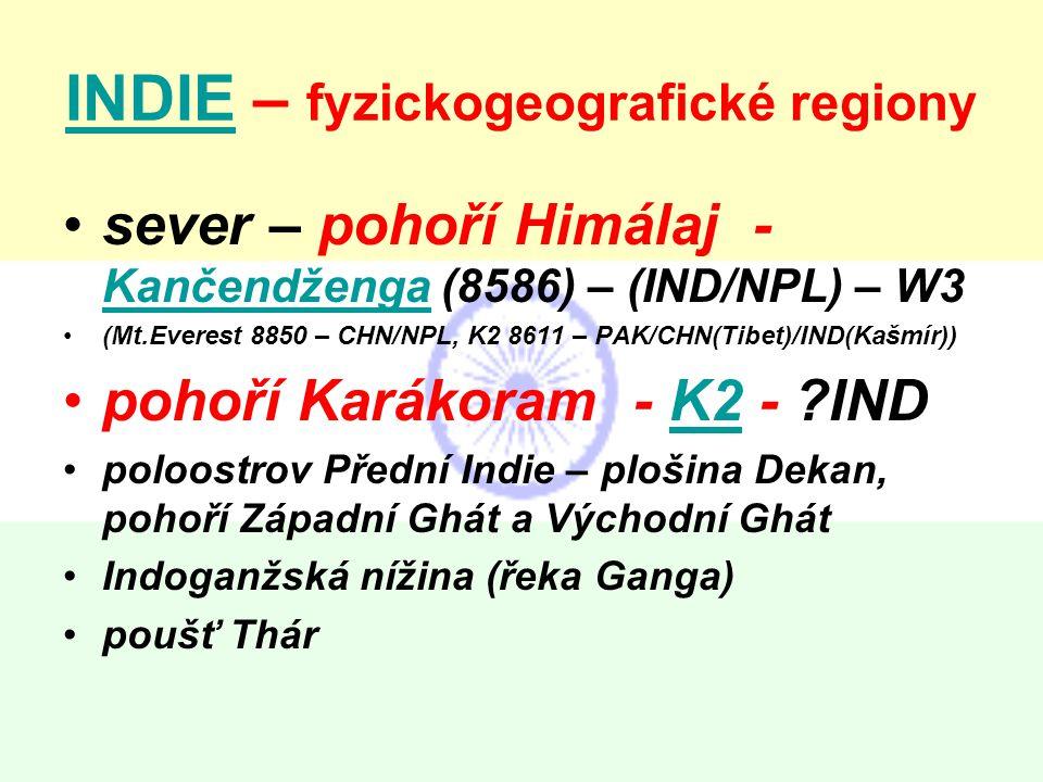 INDIE – fyzickogeografické regiony