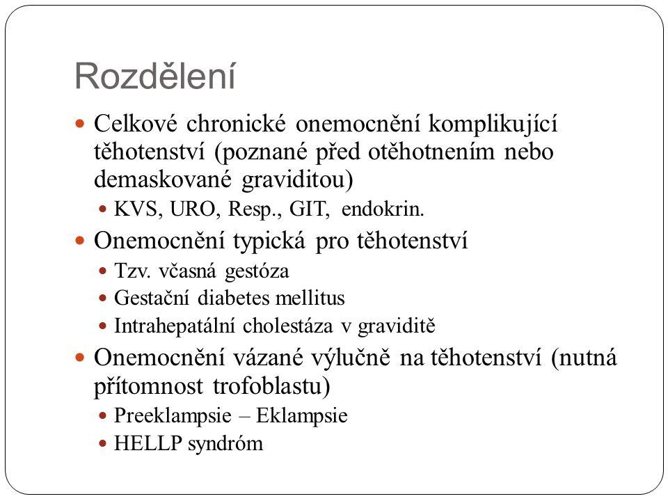 Rozdělení Celkové chronické onemocnění komplikující těhotenství (poznané před otěhotnením nebo demaskované graviditou)