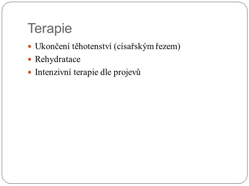 Terapie Ukončení těhotenství (císařským řezem) Rehydratace