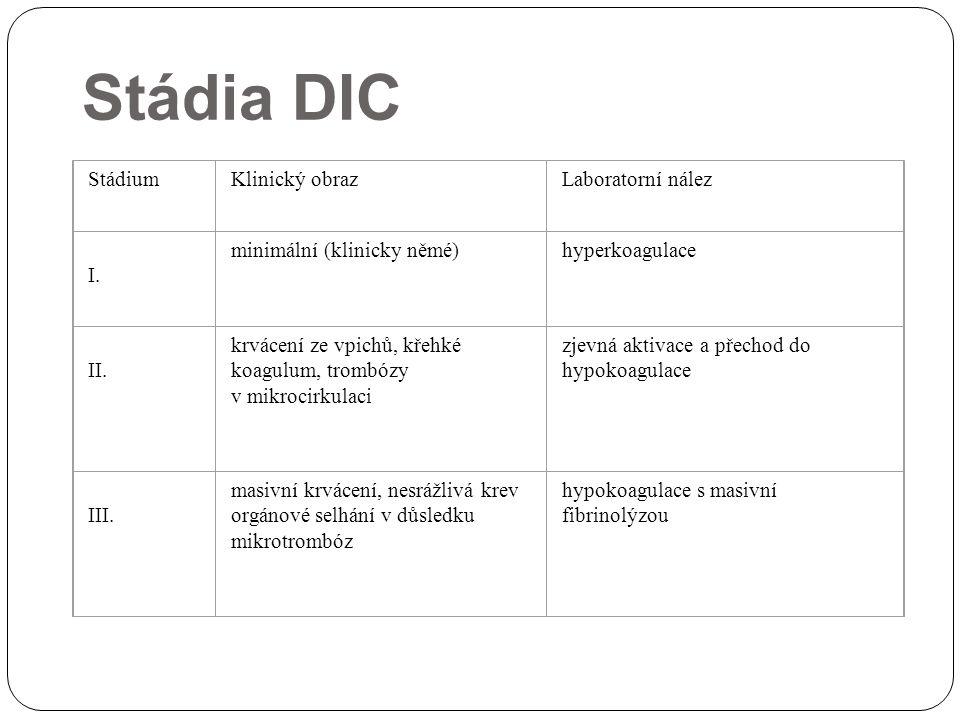 Stádia DIC Stádium Klinický obraz Laboratorní nález I.