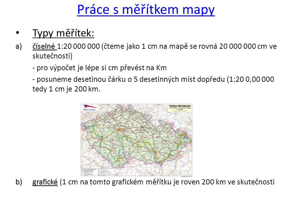 Práce s měřítkem mapy Typy měřítek: