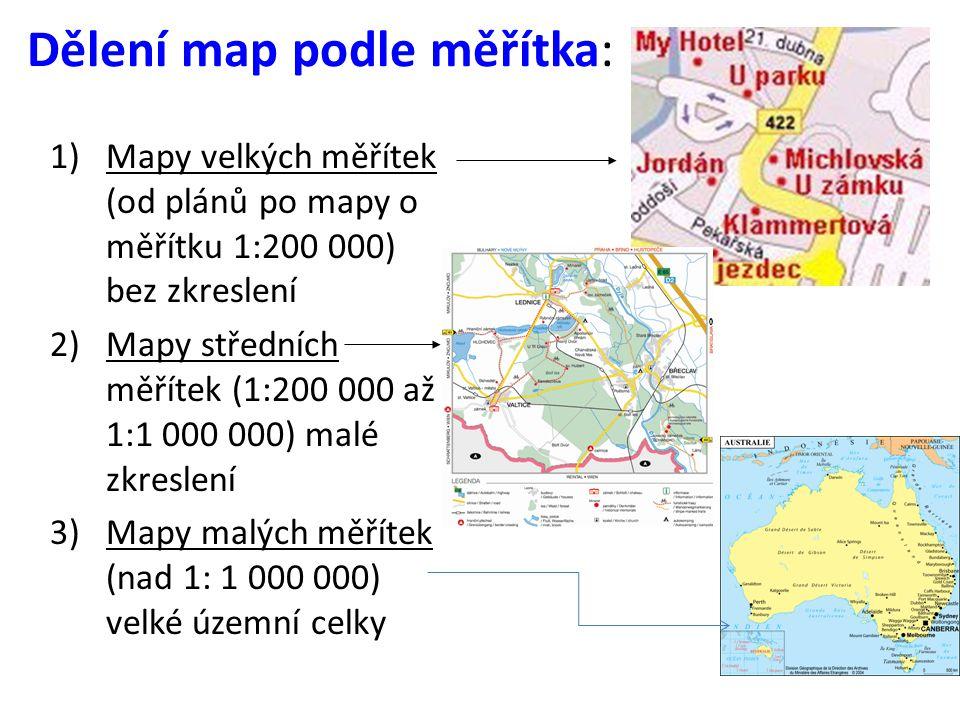 Dělení map podle měřítka: