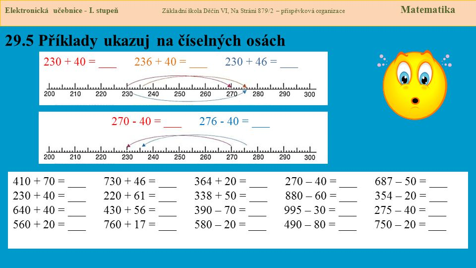 29.5 Příklady ukazuj na číselných osách