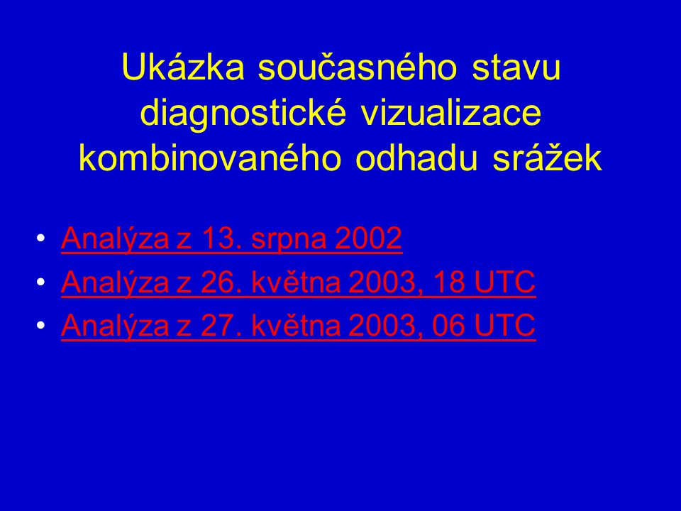 Ukázka současného stavu diagnostické vizualizace kombinovaného odhadu srážek