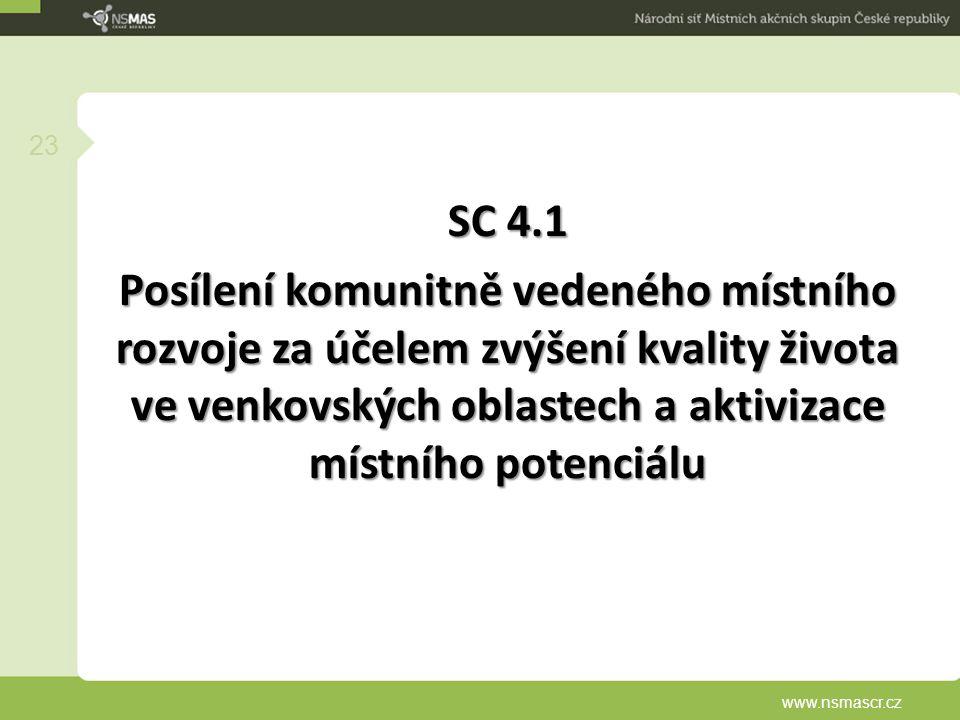SC 4.1 Posílení komunitně vedeného místního rozvoje za účelem zvýšení kvality života ve venkovských oblastech a aktivizace místního potenciálu