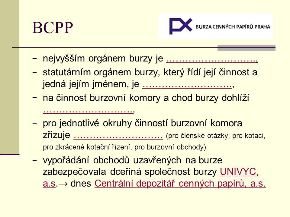 BCPP nejvyšším orgánem burzy je ……………………….,