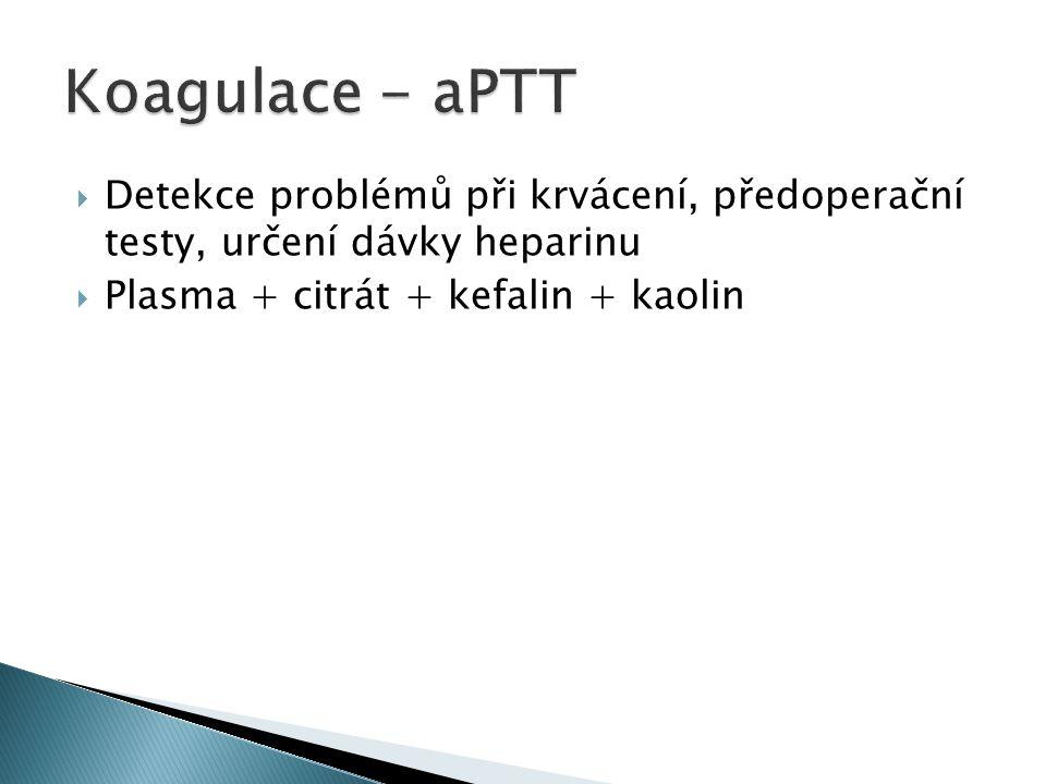 Koagulace - aPTT Detekce problémů při krvácení, předoperační testy, určení dávky heparinu.
