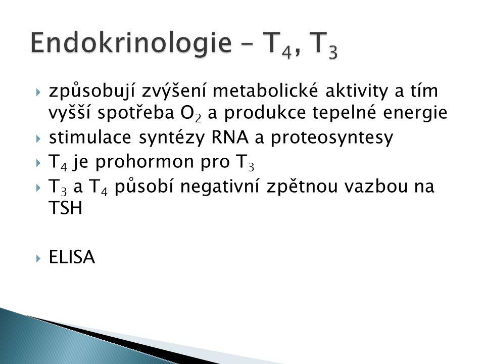 Endokrinologie – T4, T3 způsobují zvýšení metabolické aktivity a tím vyšší spotřeba O2 a produkce tepelné energie.