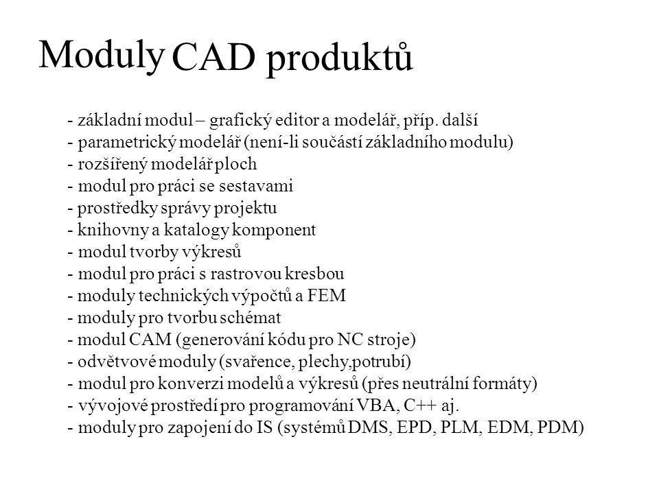 Moduly CAD produktů. - základní modul – grafický editor a modelář, příp. další. parametrický modelář (není-li součástí základního modulu)