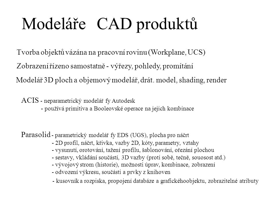 Modeláře CAD produktů. Tvorba objektů vázána na pracovní rovinu (Workplane, UCS) Zobrazení řízeno samostatně - výřezy, pohledy, promítání.