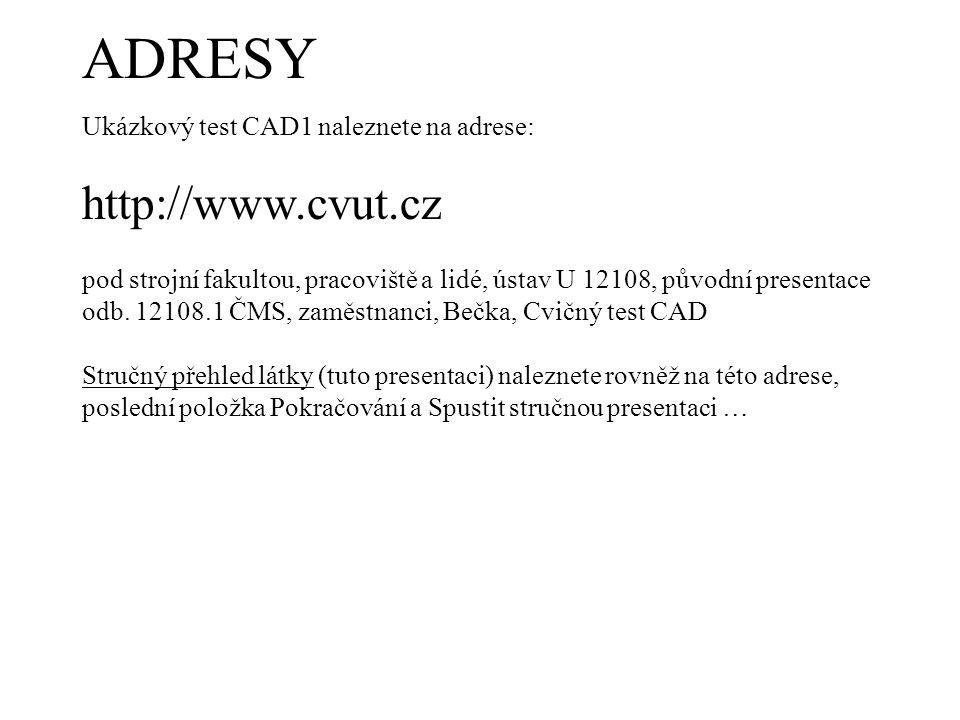 ADRESY http://www.cvut.cz Ukázkový test CAD1 naleznete na adrese: