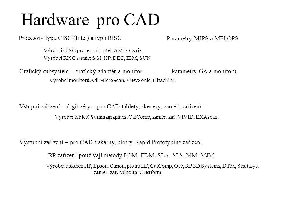 pro CAD Hardware Procesory typu CISC (Intel) a typu RISC