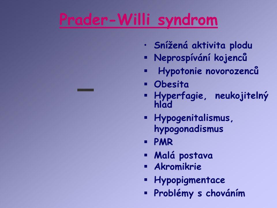 Prader-Willi syndrom Snížená aktivita plodu Neprospívání kojenců