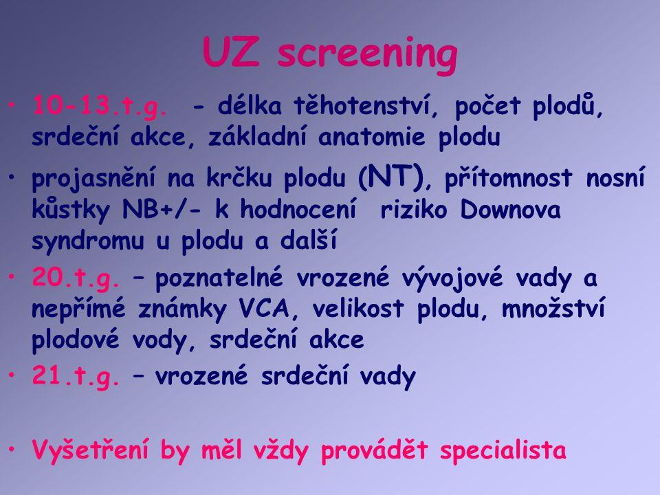 UZ screening 10-13.t.g. - délka těhotenství, počet plodů, srdeční akce, základní anatomie plodu.