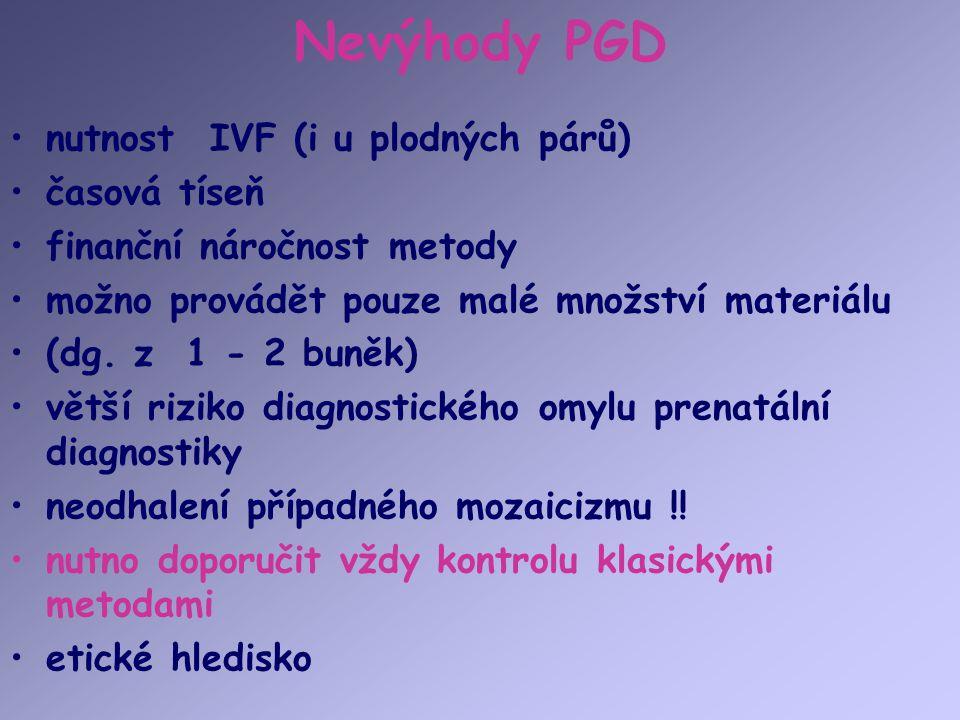 Nevýhody PGD nutnost IVF (i u plodných párů) časová tíseň