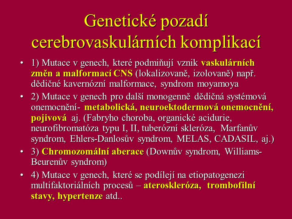 Genetické pozadí cerebrovaskulárních komplikací