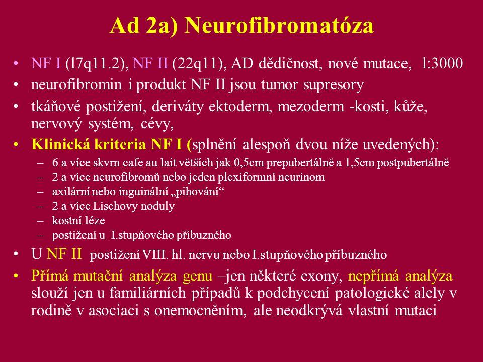 Ad 2a) Neurofibromatóza