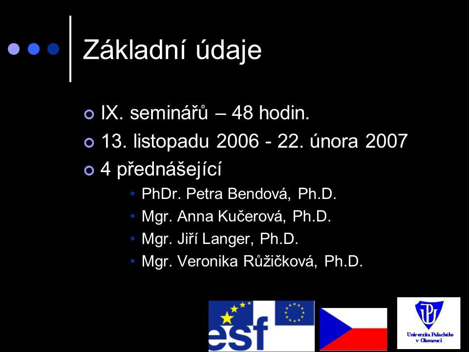Základní údaje IX. seminářů – 48 hodin.