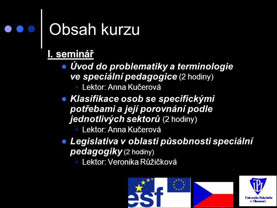 Obsah kurzu I. seminář. Úvod do problematiky a terminologie ve speciální pedagogice (2 hodiny) Lektor: Anna Kučerová.