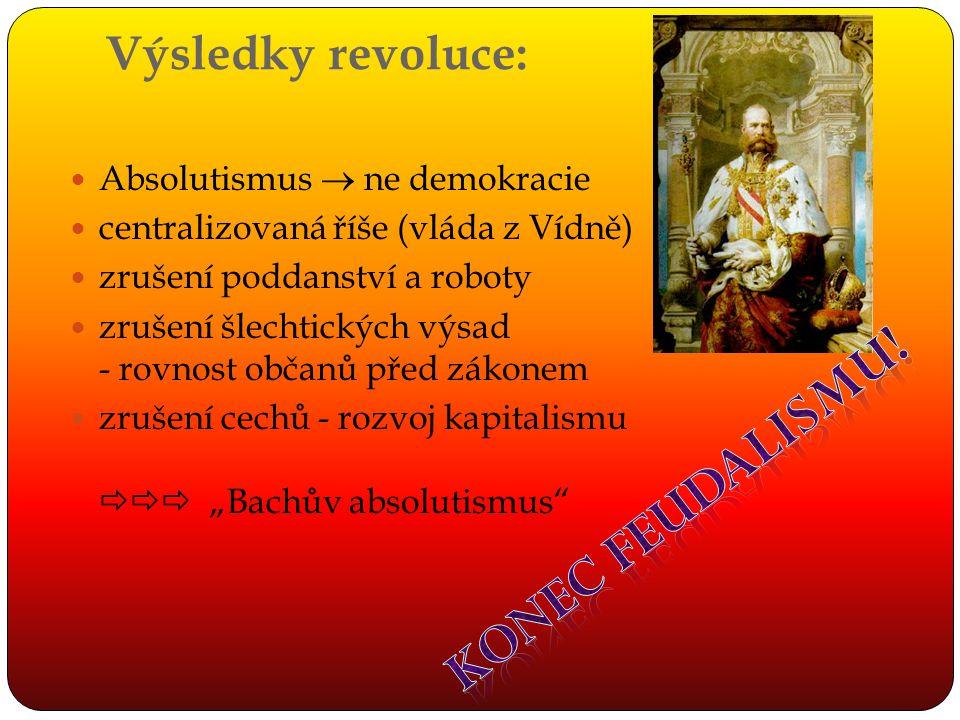 Konec feudalismu! Výsledky revoluce: Absolutismus  ne demokracie