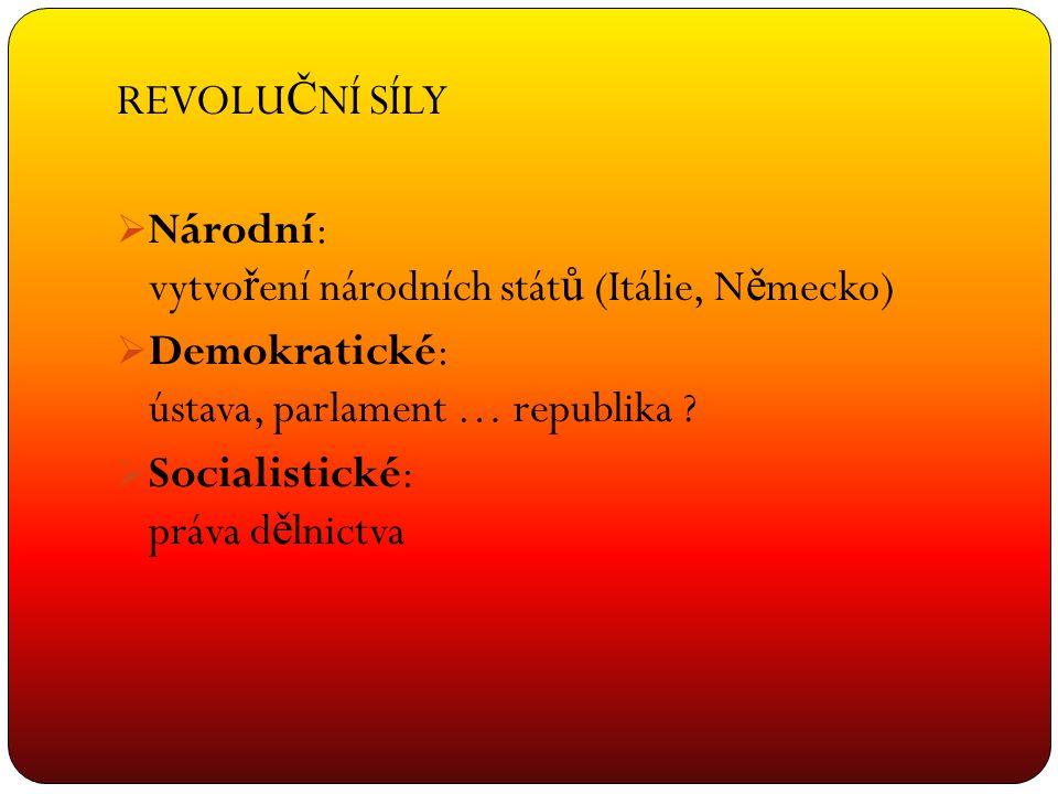 REVOLUČNÍ SÍLY Národní: vytvoření národních států (Itálie, Německo) Demokratické: ústava, parlament … republika