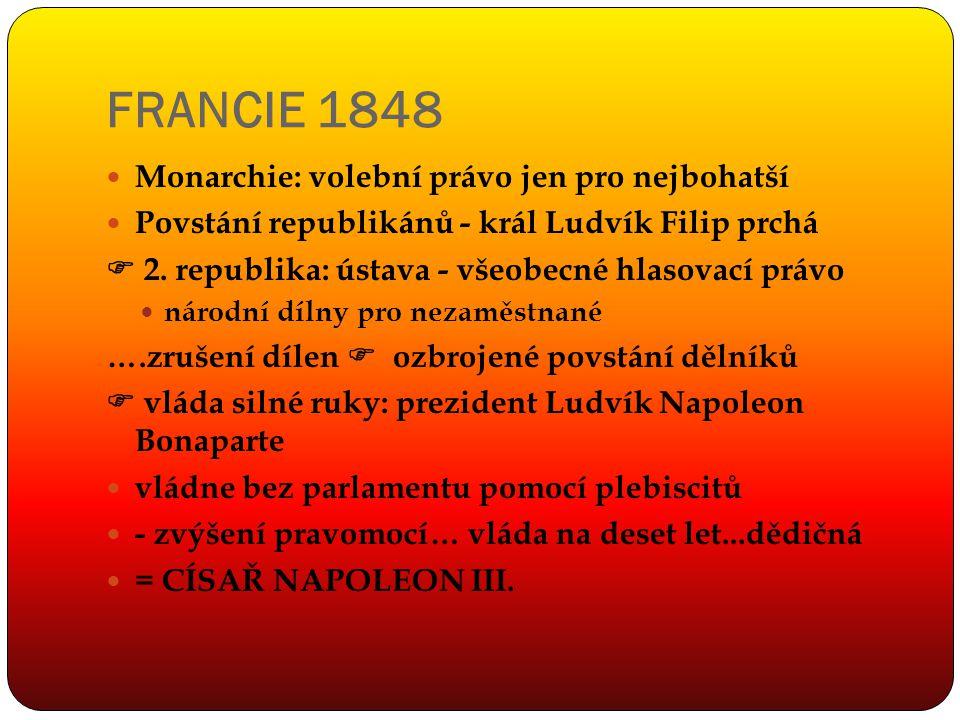 FRANCIE 1848 Monarchie: volební právo jen pro nejbohatší