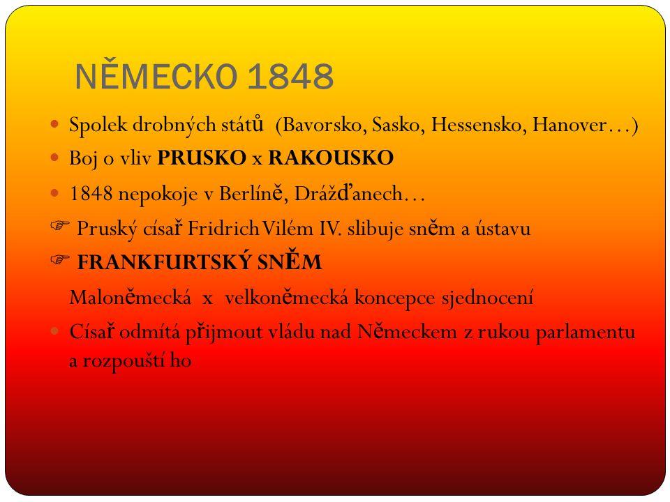 NĚMECKO 1848 Spolek drobných států (Bavorsko, Sasko, Hessensko, Hanover…) Boj o vliv PRUSKO x RAKOUSKO.