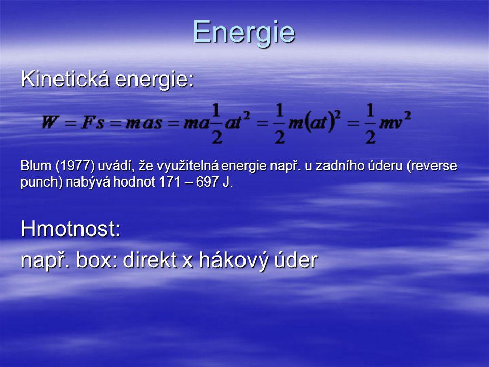 Energie Kinetická energie: Hmotnost: např. box: direkt x hákový úder