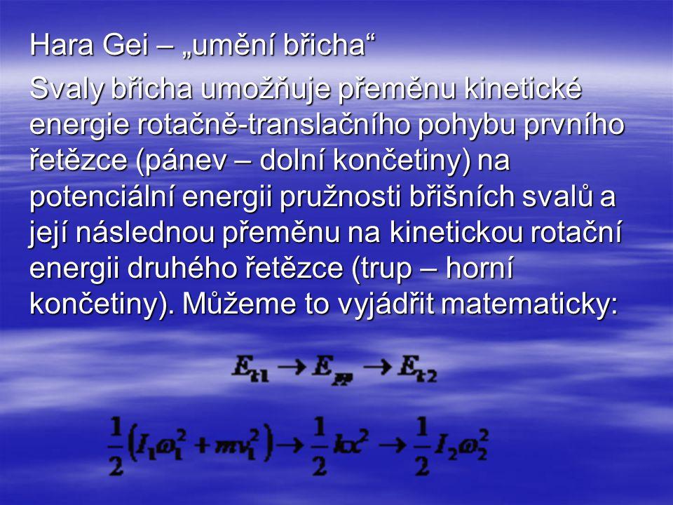 """Hara Gei – """"umění břicha Svaly břicha umožňuje přeměnu kinetické energie rotačně-translačního pohybu prvního řetězce (pánev – dolní končetiny) na potenciální energii pružnosti břišních svalů a její následnou přeměnu na kinetickou rotační energii druhého řetězce (trup – horní končetiny)."""