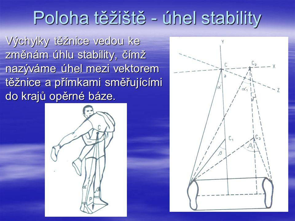 Poloha těžiště - úhel stability