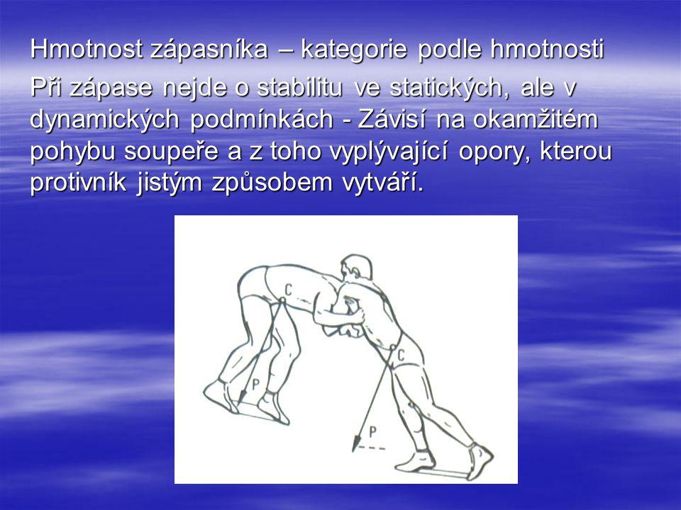 Hmotnost zápasníka – kategorie podle hmotnosti Při zápase nejde o stabilitu ve statických, ale v dynamických podmínkách - Závisí na okamžitém pohybu soupeře a z toho vyplývající opory, kterou protivník jistým způsobem vytváří.