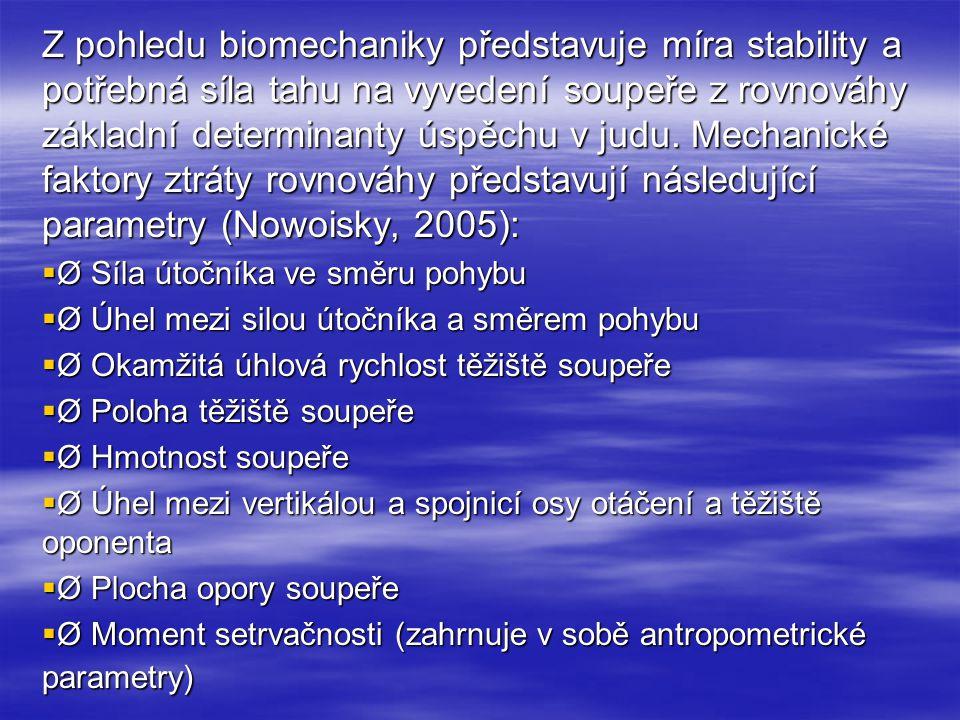 Z pohledu biomechaniky představuje míra stability a potřebná síla tahu na vyvedení soupeře z rovnováhy základní determinanty úspěchu v judu. Mechanické faktory ztráty rovnováhy představují následující parametry (Nowoisky, 2005):