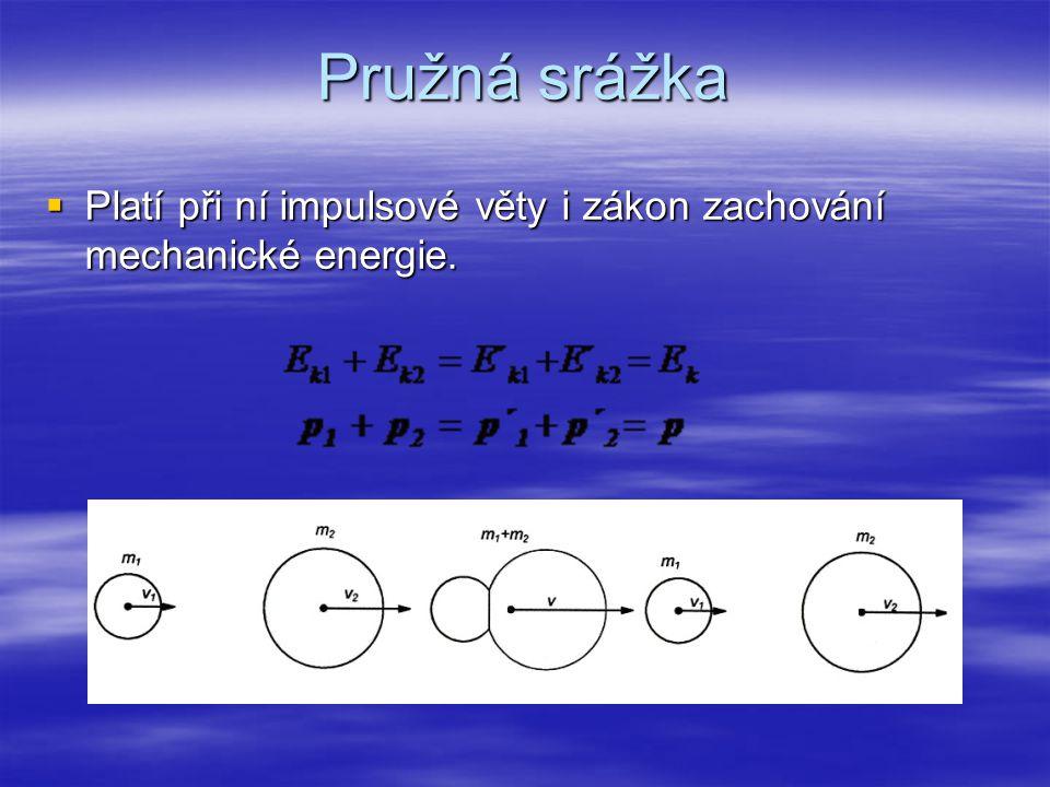 Pružná srážka Platí při ní impulsové věty i zákon zachování mechanické energie.