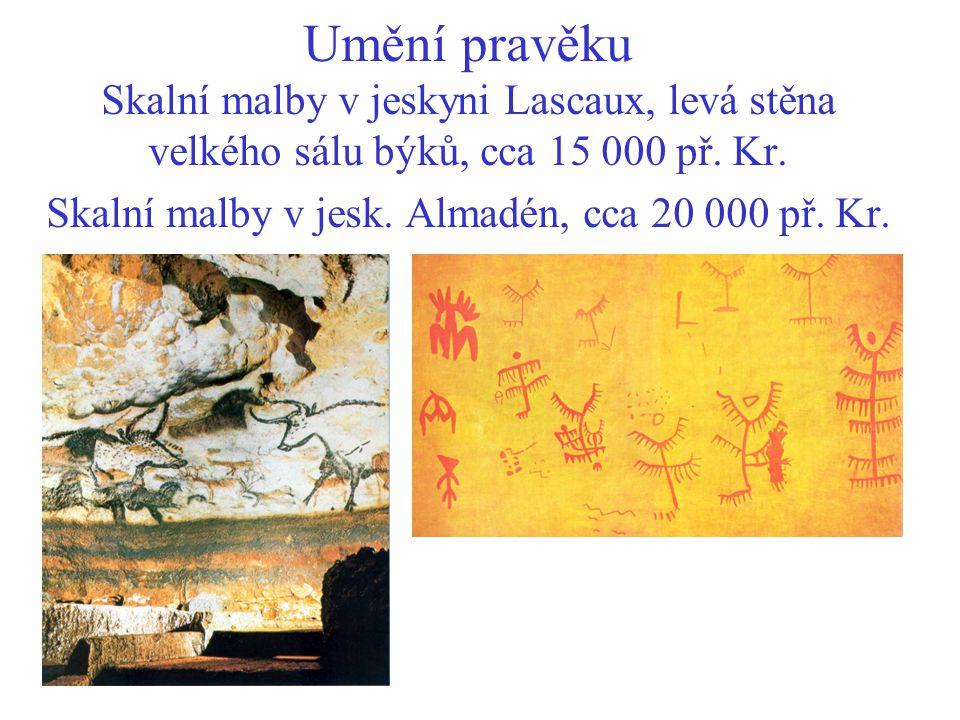 Umění pravěku Skalní malby v jeskyni Lascaux, levá stěna velkého sálu býků, cca 15 000 př.